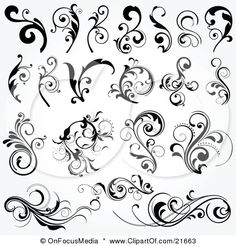 Floral graphic design elements vector 25355 - by onfocus on VectorStock® Norwegian Rosemaling, Floral Design, Graphic Design, Design Design, Swirl Design, Layout Design, Pattern Design, Scroll Design, Tole Painting