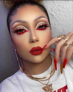 Dope Makeup, Baddie Makeup, Eye Makeup Art, Fall Makeup, Pretty Makeup, Eye Art, Makeup Eyeshadow, Dark Skin Makeup, Red Makeup