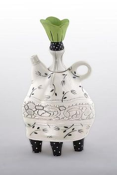 Lace Collar Teapot by Laura Peery: Ceramic Teapot