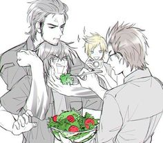 Gladio and Ignis are trying as hard as they can to make Noct eat salad... And then there's Prompto with his camera.