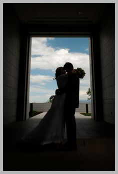 bride and groom silouette