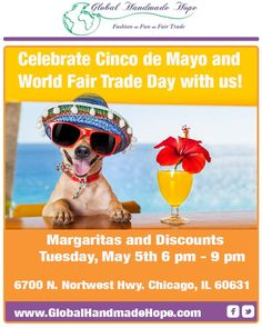 Hope you will join us for a #CincoDeMayo and #WorldFairTradeDay party tomorrow!