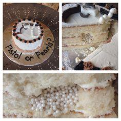 Pistol or Pearls Gender Reveal Cake, Pistols or Pearls, pearls inside.