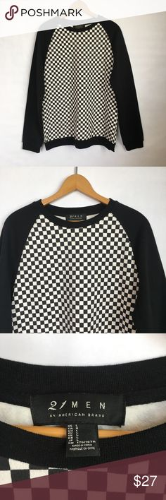 """Forever 21 Men's Black Checker Board Sweater Men's size large. In excellent condition. Approx measurements: 21"""" armpit to armpit, 28"""" shoulder to hem Forever 21 Men Sweaters"""