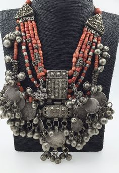 Antique Silver Coral Necklace Yemen Yemeni Ethnic Tribal Beads Hirz Multi Strand