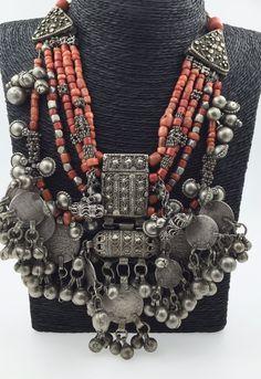 Antique Silver Coral Necklace Yemen Yemeni Ethnic Tribal Beads Hirz Multi Strand