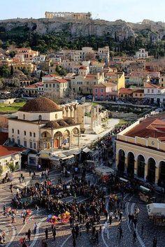 The area of Monasteraki in Athens and the Acropolis