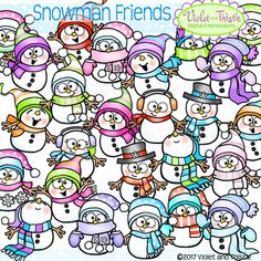 These cute little guys are just waiting for you to take them home! All images are as shown. Happy creating! Cute Snowman Winter Snowmen Clipart Clip Art. Set includes both color and black and white. See my SNOWMAN PEEKERS