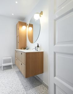 Inspiration: Limfjordsvej in Vanløse, Denmark Reform's Basis bathroom design in natural oak with a countertop in white GetaCore. It's an IKEA hack. Bathroom Hacks, Ikea Bathroom, Bathroom Renos, Bathroom Renovations, Bathroom Furniture, Small Bathroom, Bathroom Mirror Design, Bathroom Wallpaper, Bathroom Colors