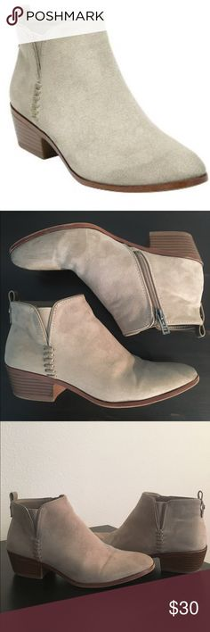 Women's Sam & Libby Peyton Flat Booties Tan ankle booties. Lightly worn. Soft micro suede and an easy inside zipper makes this the go-to style for everyday wear. Whipstich detailing gives a slightly western feel but the Peyton is classic enough to style with all of your pants and dresses. Heel is approximately 1.5 inches. Sam & Libby Shoes Ankle Boots & Booties