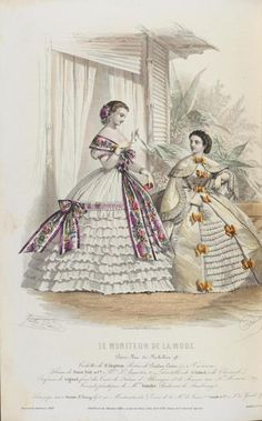 c.1860, Fashion plate from Le Moniteur de la Mode ~ zeehasablog: