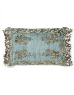 Calista cushion on Como silk velvet teal