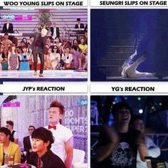 JYP: what are you doing? don't get hurt! vs. YG:*clapping and laughing*