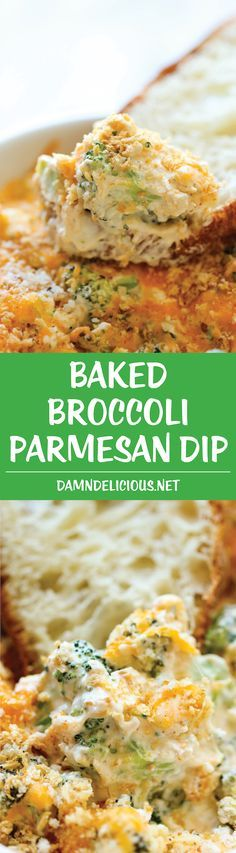 Baked Broccoli Parmesan Dip - A wonderfully hot and cheesy broccoli dip that is sure to be a crowd pleaser! Appetizers For A Crowd, Appetizer Dips, Appetizer Recipes, Vegan Appetizers, Dip Recipes, Cooking Recipes, Yummy Recipes, Casserole Recipes, Yummy Food