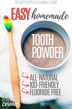 A recipe for homemade remineralizing and whitening tooth powder that uses benton. - A recipe for homemade remineralizing and whitening tooth powder that uses bentonite clay, activated - Baking Soda Shampoo, Baking Soda Uses, Cure Tooth Decay, Homemade Toothpaste, Toothpaste Recipe, Natural Toothpaste, Tooth Powder, Dog Shampoo, Honey Shampoo