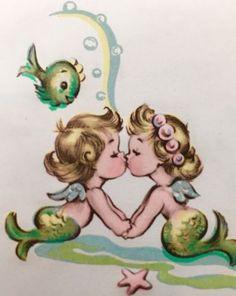Vintage Mermaid Art Print Illustration