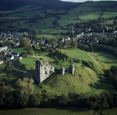 Aerial view looking South East of Clun castle and surrounding countryside © Skyscan Balloon Photography