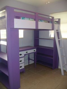 Engaging Bedroom Design Ideas Using Corner Purple Bunk Beds : Exquisite Bedroom Designs Using Purple Bunk Beds In Rectangular Wooden Materials Also With Rectangular Purple Shelves And White Wooden Ladders