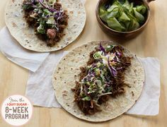 IQS Program - Pulled Pork Korean Tacos - This looks absolutely delicious, a bonus when it's good for you too! I think this will go down a treat with my partner too Gluten Free Wraps, Dairy Free Options, Sugar Free Recipes, Paleo Recipes, Cooking Recipes, Slow Cooked Pulled Pork, Fructose Free, No Sugar Foods, Dinner Options
