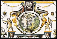 Uffizi Gallery in Firenze. Grotesque decor of the ceiling by Antonio Tempesta
