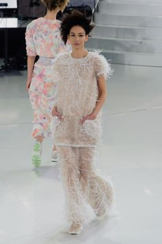 Chanel Couture Spring 2014 ---> Love the feather detail...hate the shoes!