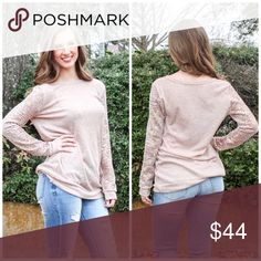Taupe Sequin Sleeve Top French Terry Top with Sequin sleeves Tops