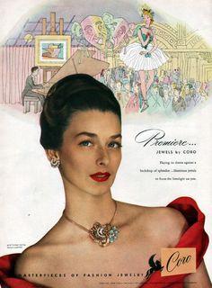 Premiere Coro Fashion Jewelry NECKLACE Earrings DANCE HALL 1947 Print Ad #Coro