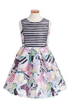 Ray Size Only: Pippa & Julie Stripe & Floral Shantung Party Dress (Big Girls)