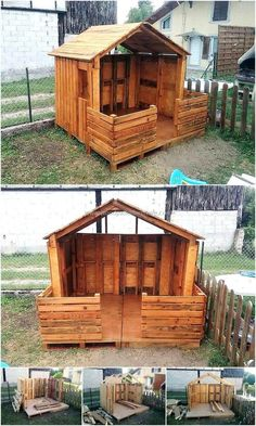 This is other thought-provoking wood pallets kid's playhouse project, not only simple and easy to construct but bold and wonderful in appearance as shown in the picture given below. It is a good idea to place this pallets wood playhouse in your garden to increase the beauty of your ordinary-looking garden. The Wooden playhouse is perfect to keep your kid's happy and in full enjoyable mood at their own house. #buildplayhouseeasy #buildplayhouses #gardenplayhouse #playhouseideas