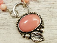 Pink Coral Necklace, Sterling Silver Gemstone Pendant Western Style | WestWindCreations - Jewelry on ArtFire