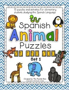 Spanish Animal Puzzles and Activities - At the Zoo - for elementary students studying the Spanish language