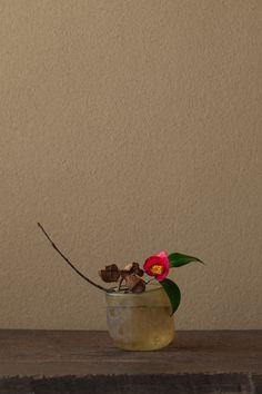 bouquet japonais, mars 2012, camélia et vase en verre dépoli, brun,