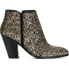 Giuseppe Zanotti Design Glitter Booties (€255) ❤ liked on Polyvore featuring shoes, boots, ankle booties, black, black ankle booties, glitter boots, black block heel booties, real leather boots and leather booties