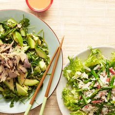 A spicy tuna roll salad is filling enough for a main course, but also makes a great gourmet side salad. #vegetables #myplate