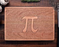 Pi Cutting Board, Math Art, Geeky Christmas Gift, Engraved Wood Kitchen Decor, Pi Art Science Gift, Geekery