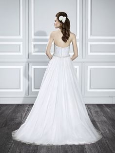Moonlight Tango T711 strapless tulle wedding gown with lace detailing