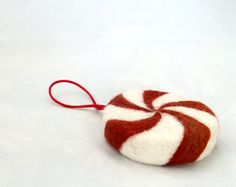 Felted Wool Christmas Ornament peppermint candy by wildethyme, $12.00