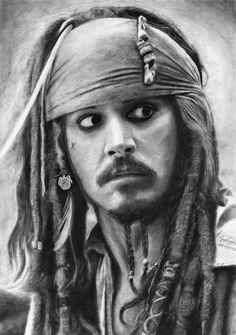 Original Celebrity Drawing by Garik Asatryan | Fine Art Art on Paper | Jack Sparrow