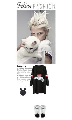 """Kitty Cat"" by vintagehome on Polyvore featuring Style Stalker, Versace 19•69, Disney, cozy, catstyle, felinefashion and minxny"