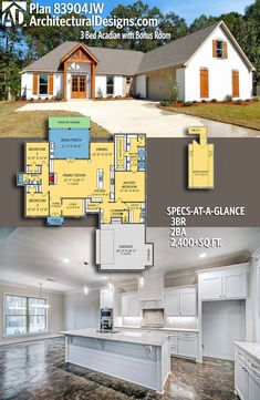 Exclusive Acadian House Plan with Bonus Room DesertRose,;,Architectural Designs House Plan with a bonus over garage. Acadian House Plans, New House Plans, Dream House Plans, House Floor Plans, My Dream Home, Dream Houses, Architectural Design House Plans, Architecture Design, Built In Lockers