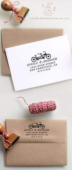 Tandem Bike Custom Return Address Stamp for weddings, housewarming parties and as a customized gift for holidays by MySplendidSummer