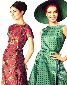 Red and green summer mod dresses, Burda Moden July 1964