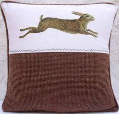 French Vintage Hare Harris Tweed Linen Coussin Pillow Cushion Cover - French Country £22 Free Shipping