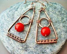 Wire Wrapped Triangle Earrings Copper and Red by GearsFactory, €16.00