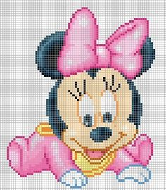 Baby Minnie Mouse hama perler pattern