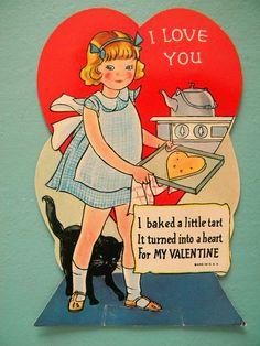 Vintage Valentine's Day Card Girl Baking Tart by SongbirdSalvation