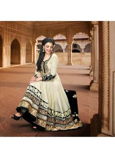 Cream Zardosi with Sequins Work Faux Georgette Anarkali Salwar Suit