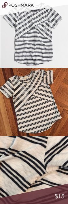 J. Crew Factory Cross-striped T-shirt Cozy shirt for the weekends. White with navy blue stripes. Pilling by armpits. Fits more like a Small.  PRODUCT DETAILS Cotton/poly. Machine wash. J. Crew Factory Tops Tees - Short Sleeve