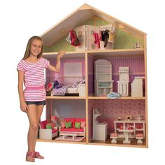 My Girl's Dollhouse for Dolls - Dollie & Me Style The premier, high-quality wooden dollhouse For your precious 18 inch or smaller dolls Features 5 spacious rooms including a floor attic Does not include pictured furniture Girls Dollhouse, Wooden Dollhouse, Dollhouse Dolls, Dollhouse Furniture, Doll Furniture, Dollhouse Kits, Wooden Dolls, Dollhouse Miniatures, Doll House Plans