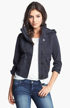 hooded twill bomber jacket
